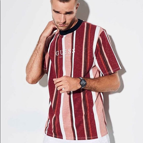 discount order official photos GUESS ORIGINALS SAYER STRIPED TEE red pink multi NWT